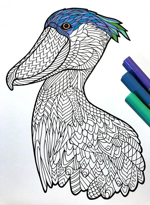 Shoebill Stork PDF Zentangle Coloring Page Zentangle