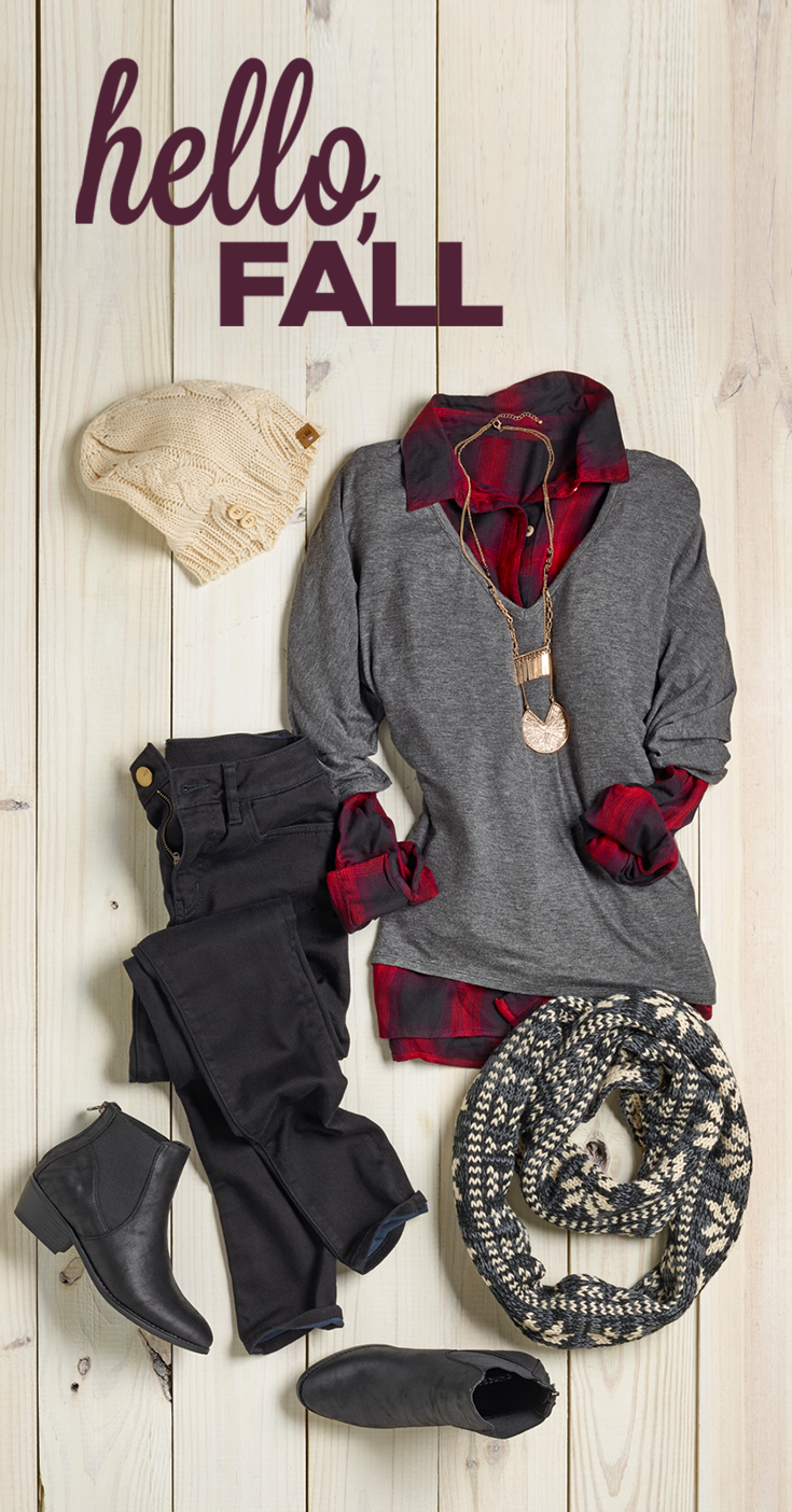 Red and black flannel cardigan  Black booties and plaid are totally fall fashion musthaves Pair
