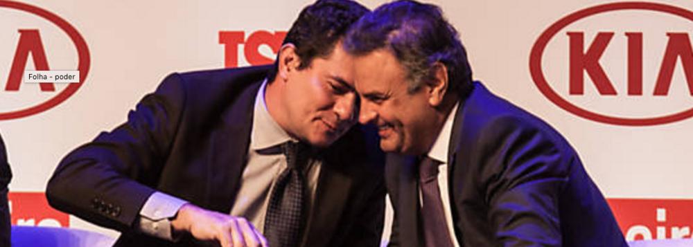 Sergio Moro(PSDB/PR) confraterniza com Aécio Neves(PSDB/MG)
