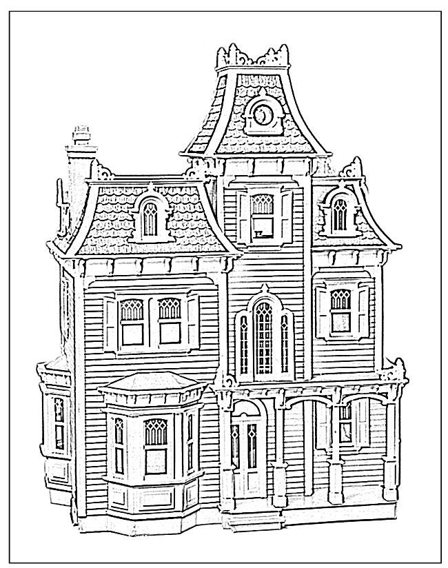victorian house coloring page - Coloring Pages Houses Homes