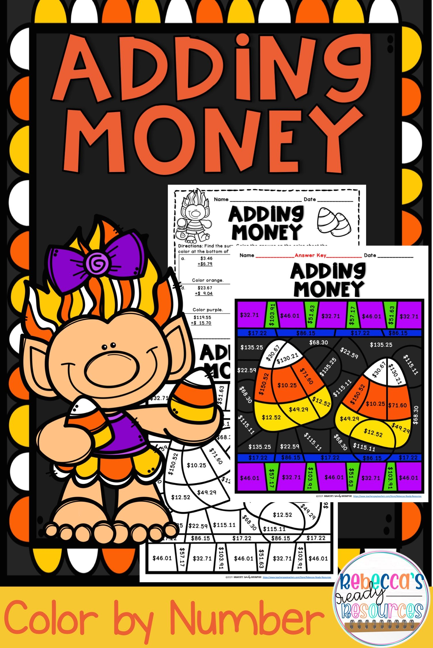 Adding Money Color By Number Halloween Theme