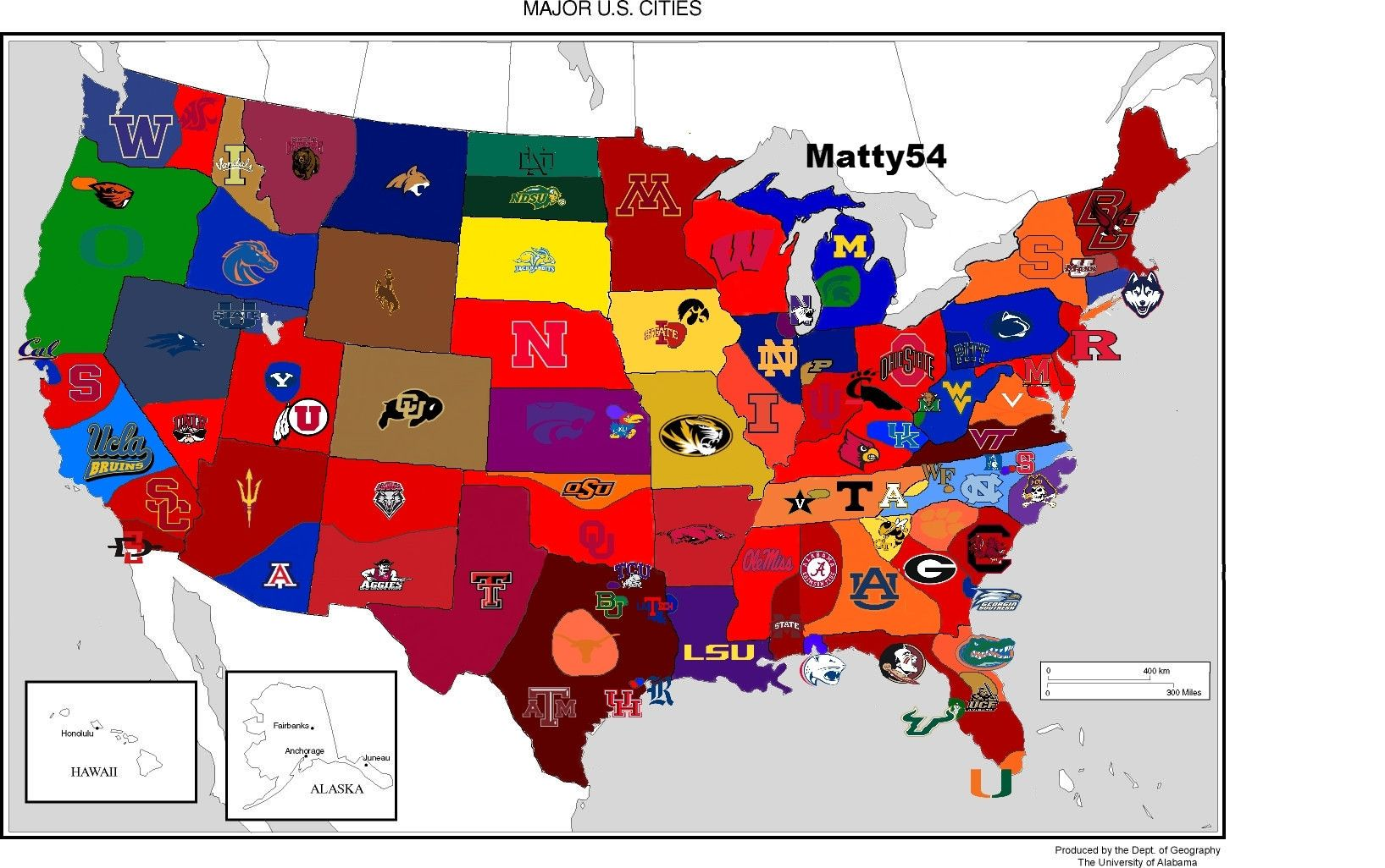 Your favorite college football team based on where you live