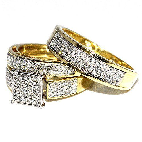 his her wedding rings set trio men women 10k yellow gold 06ctw rings midwestjewellery - Gold Wedding Rings For Her