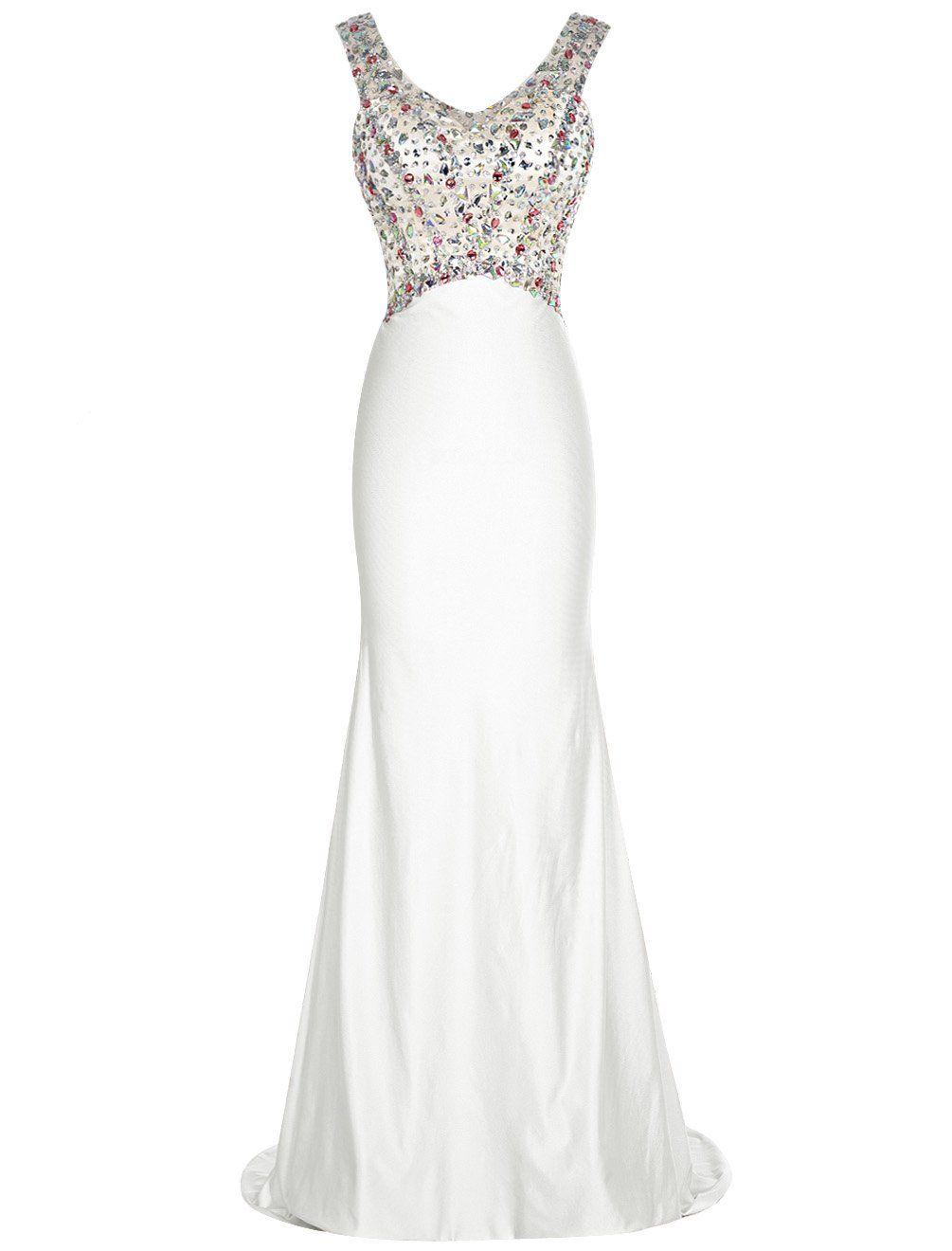 Dresstells long prom dress beadings vneck mermaid dress chiffon