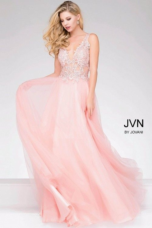 b5e17b79b07 Jovani - Sheer Neckline and Embroidered Bodice Chiffon Prom Dress JVN47560   prom