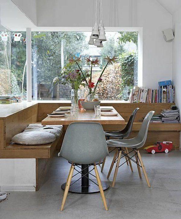 esstisch stühle eckbank holz esstischlampen boho styl Pinterest
