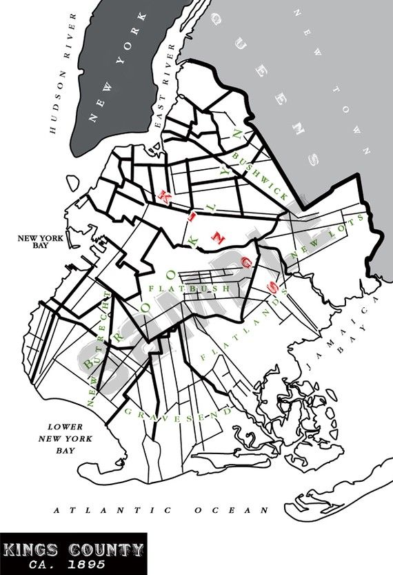 crown heights brooklyn map Graphic Print Of Vintage Brooklyn Map Tiamatdesign Brooklyn crown heights brooklyn map