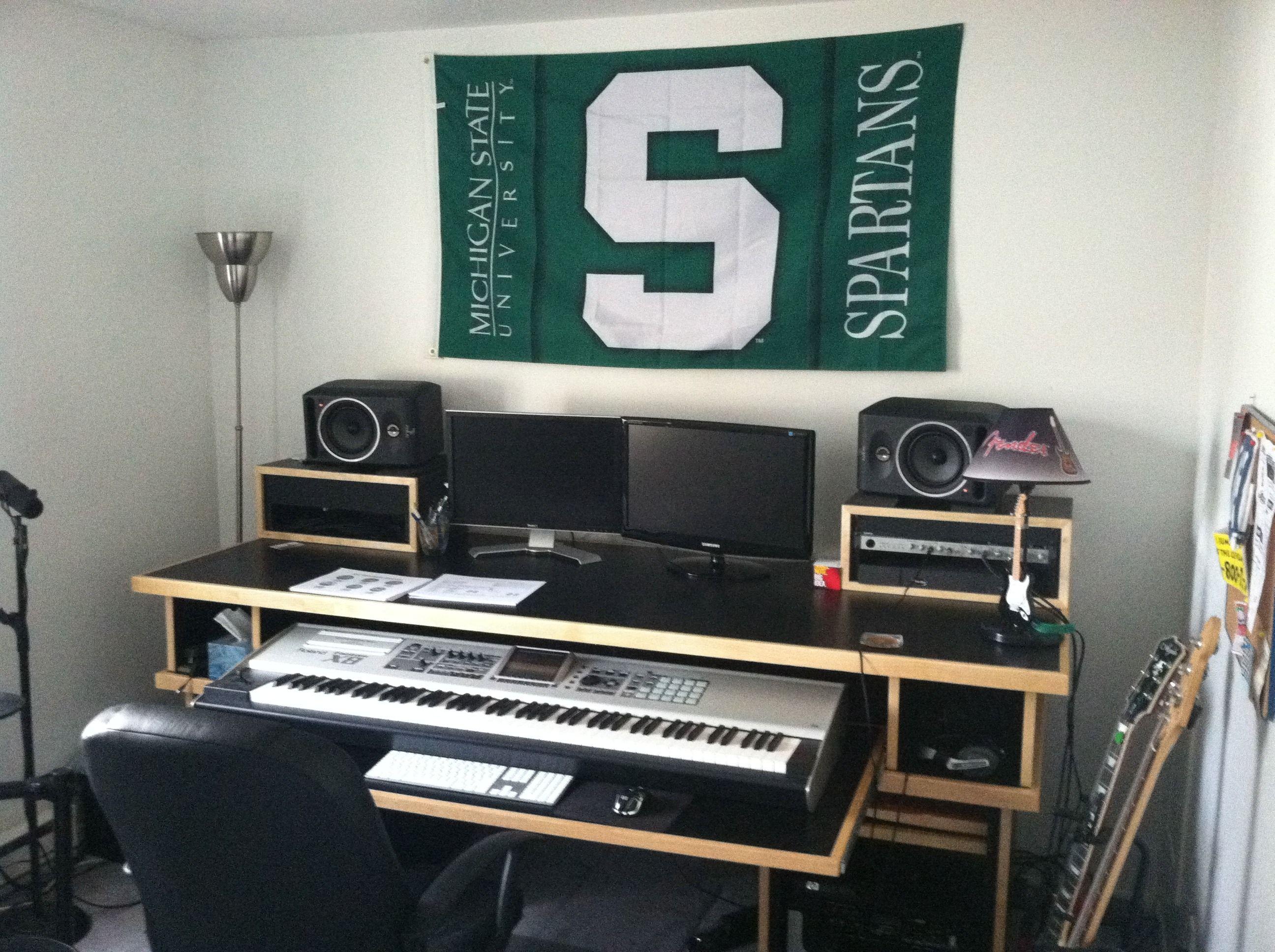 Have desk music area set up like