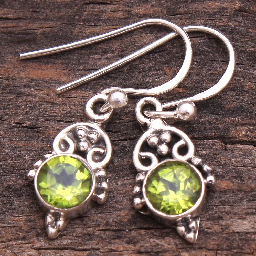 Round Faceted Peridot Gemstone Dangle Earring 925 Sterling Silver Jewelry