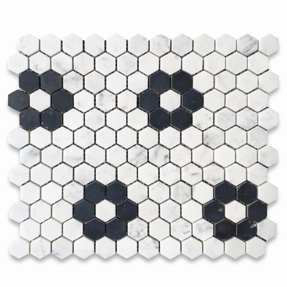 Carrara White Marble 1 Inch Hexagon W Black Marble Rosette Pattern Mosaic Tile Honed In 2020 Mosaic Tiles Hexagon Black Marble