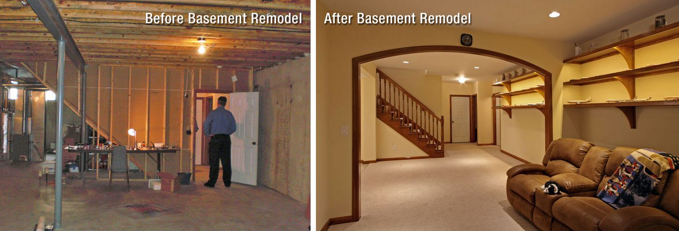 Mosby Before And After Basement Jpg 1397 476 Finishing