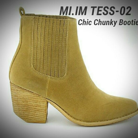 """MI.IM """"Tess"""" Ankle Booties Eye-catching & showstopping, these chic ankle booties are sleek & on-point. Featuring a clean faux matte leather body, elastic side panels and a stylish round toe. Low angular heels subtly boost your height. These booties are perfect for any occasion cushioned insole. Used 1X for a photo shoot.  ?Color: Beige ?Pull-on style ?Faux matte leather ?Toe shape: Round ?3"""" Heel  ?1/4"""" Platform  ?4 1/2"""" Shaft  ?Fully lined ?Manmade, textured sole ?Padded footbed MI.IM Shoes…"""
