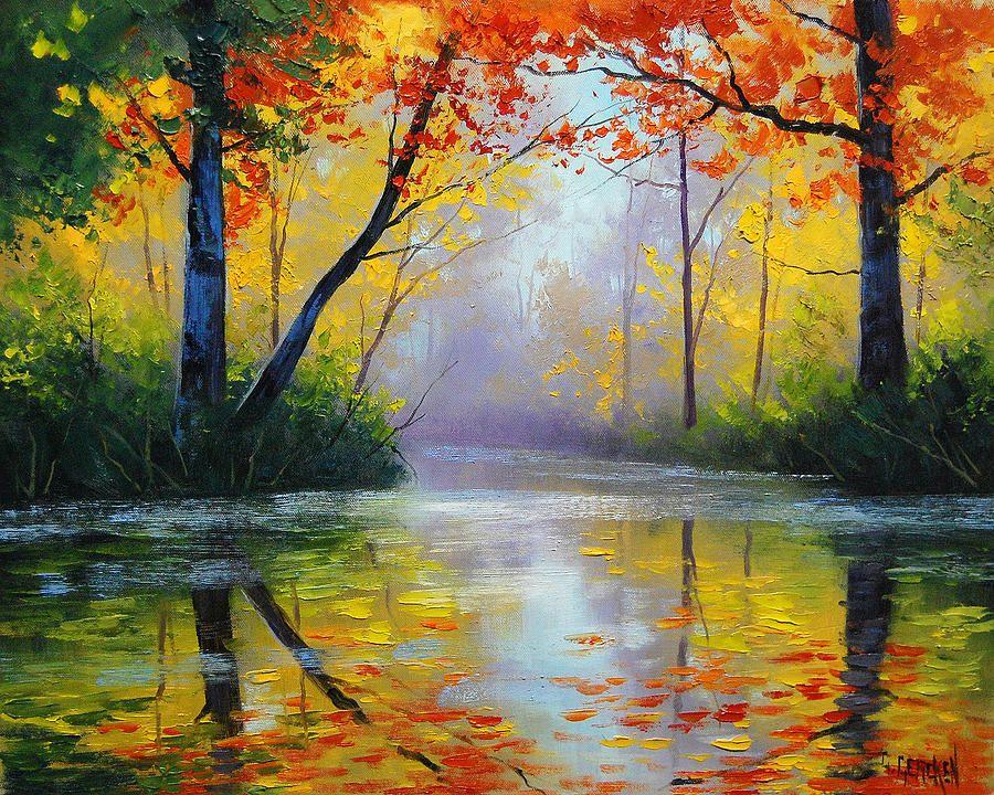 Красивый осенний пейзаж картинки маслом