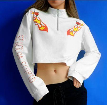 c91573f5a6de7 Rose flame crop tops for teenage girls white quarter zip sweatshirt ...