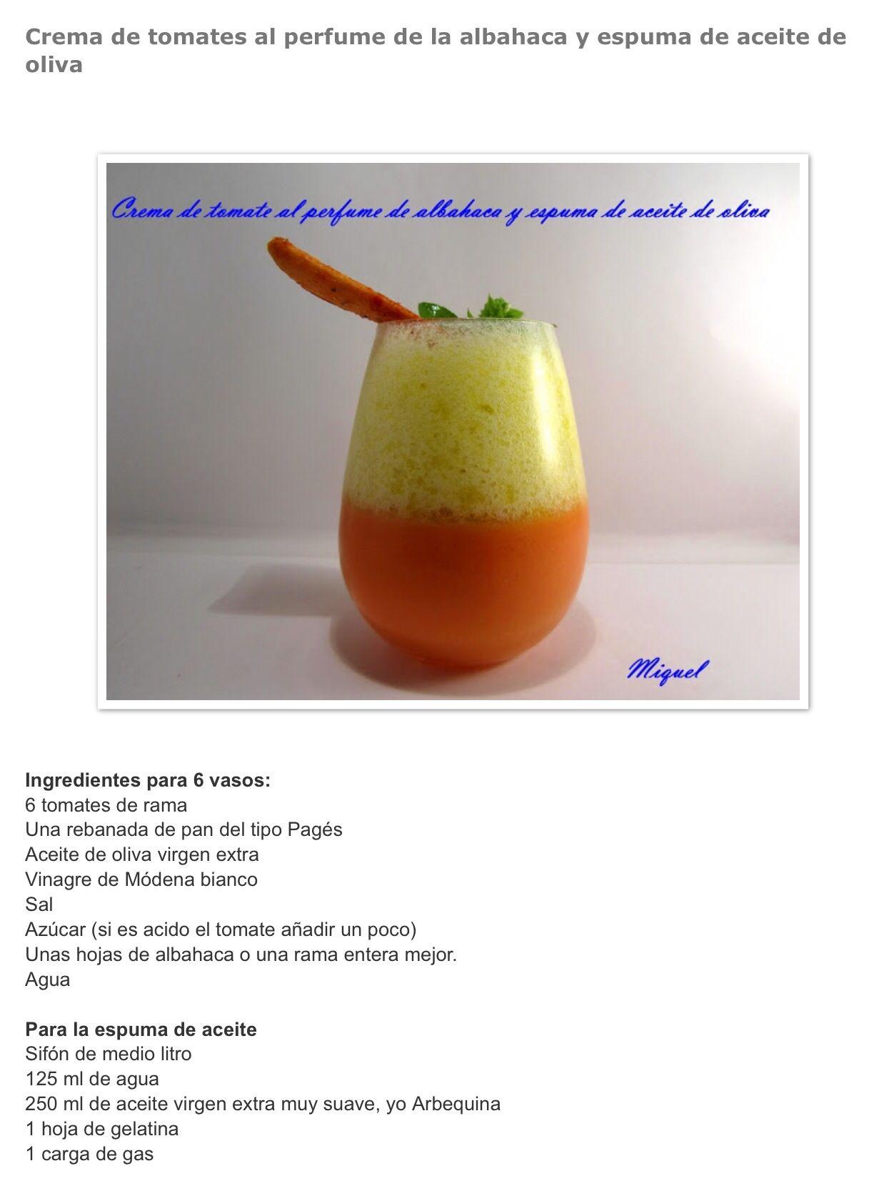 Espuma De Aceite Sifon Crema De Tomate Aceite De Oliva Virgen