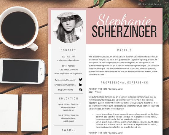 Teacher Resume With Photo Modern Resume Template Word Cv