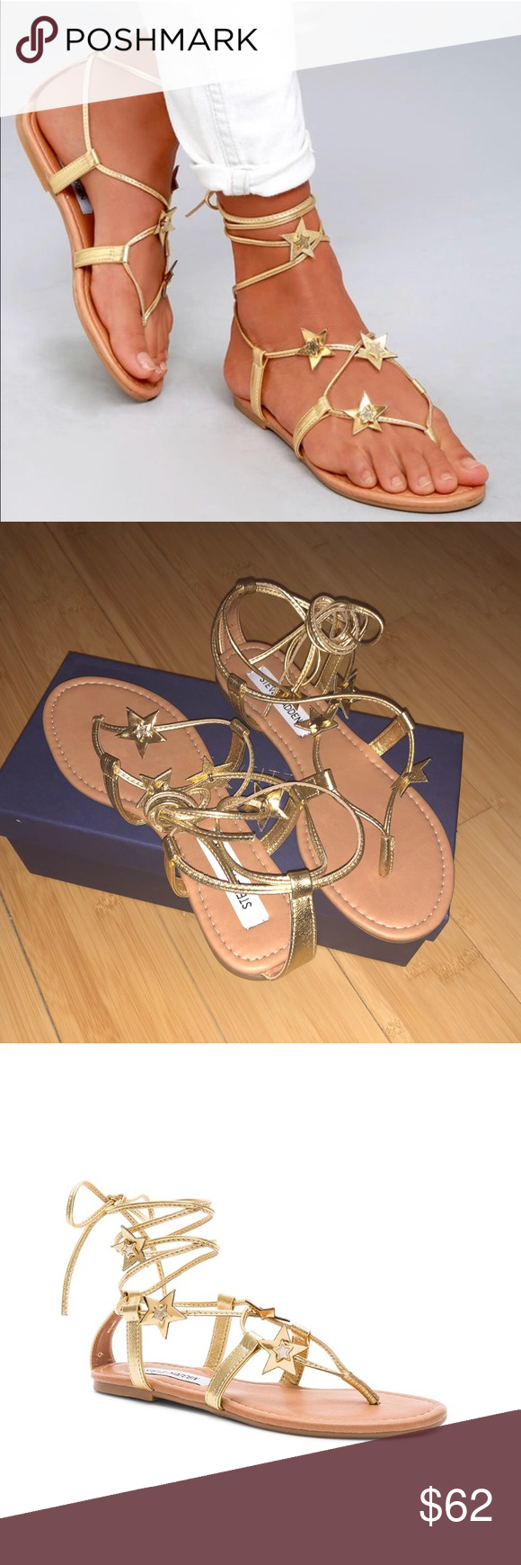 0b39ca0a72bf7 Steve Madden Jupiter Lace-Up Sandal Steve Madden jupiter lace-up sandal in  gold metallic. Star shaped appliqué accents. Lace-up front with wrap tie  closure.