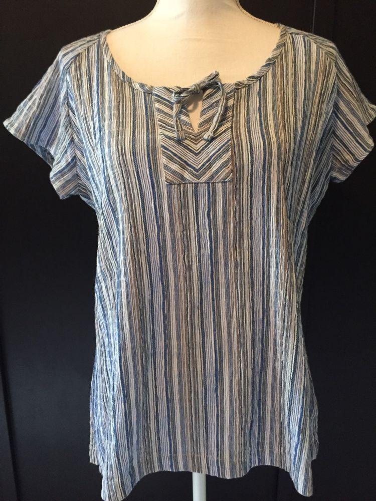 Columbia Large Blue Gray White Stripe Cotton Blend Gauze Short Sleeve Peasant  #Columbia #Blouse