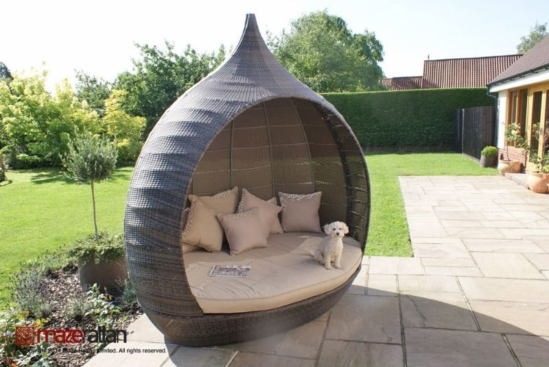 the maze rattan pear shaped garden daybed a simply remarkable rattan daybed that shouts out in volumes in looks woven rattan finish and style a