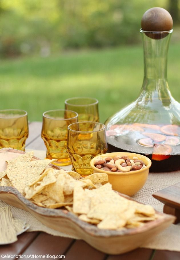 end of summer party appetizers and sangria