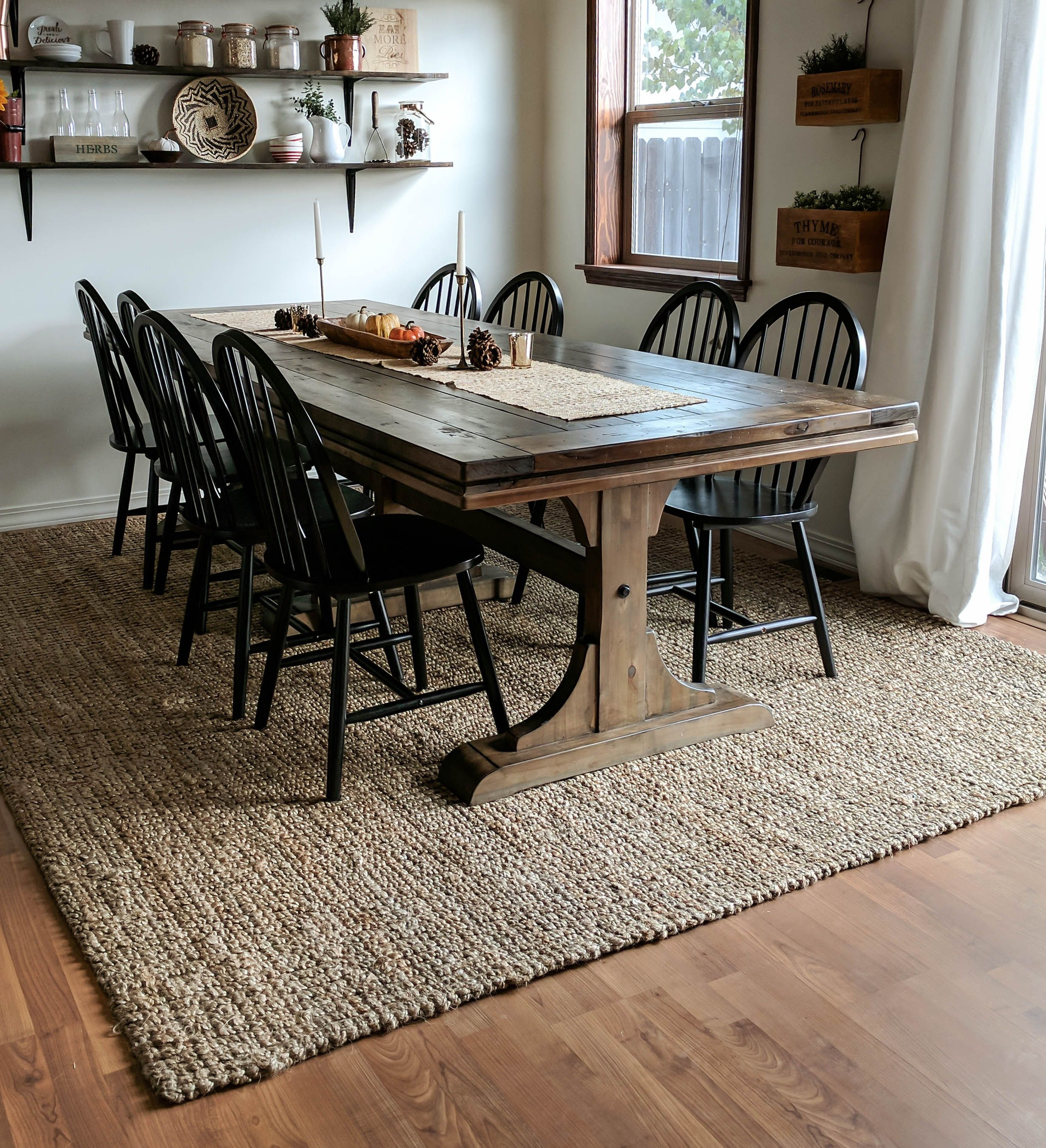An Honest Jute Rug Review Joyfully Growing Blog Wood Dining Room Table Timber Dining Table Wood Dining Room