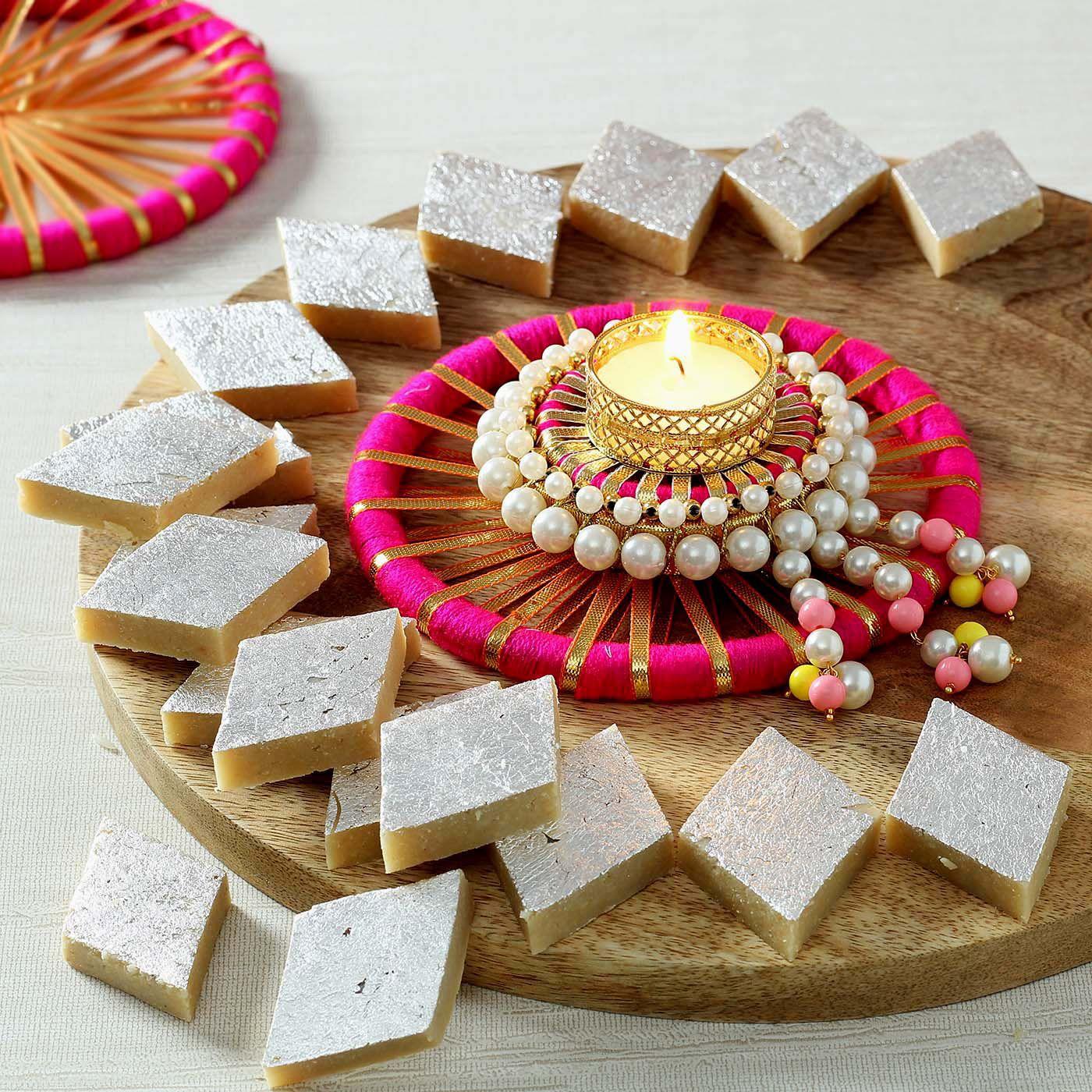 Decorative Candle Diya with Kaju Katli Diwali gifts