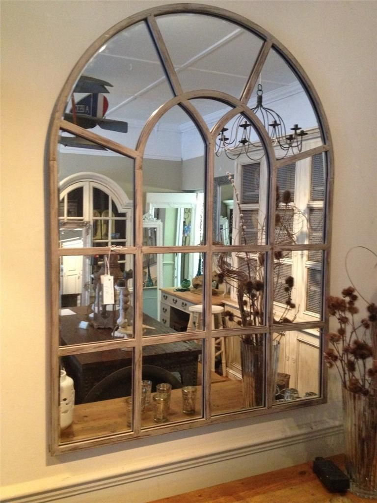 Industrial Window Pane Mirror With Distressed Finish