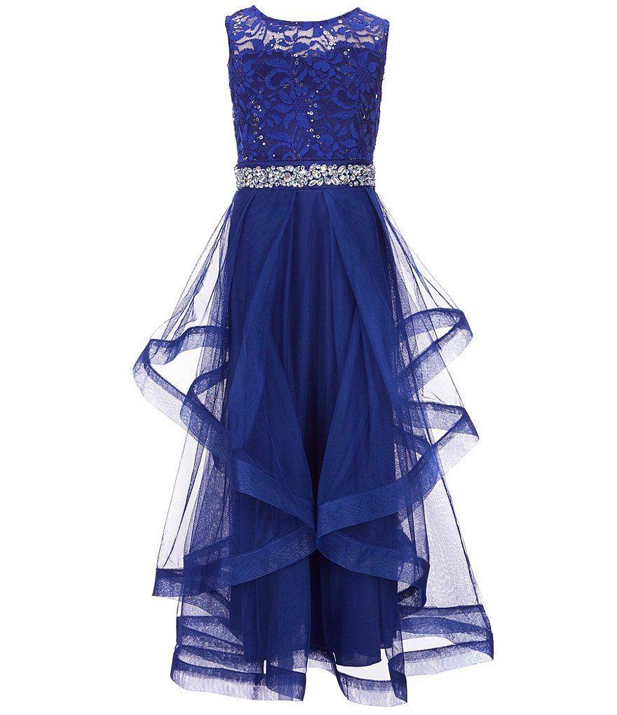 Xtraordinary big girls sequin lacesheer mesh long dress