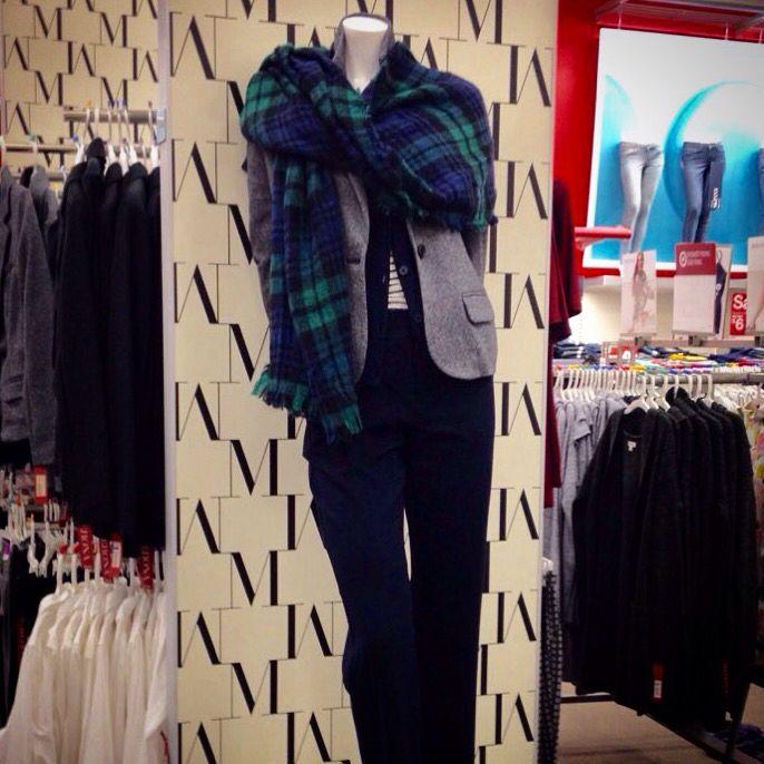 Merona work wear including cardigan, blazer, long sleeve v-neck, straight pants and plaid blanket scarf