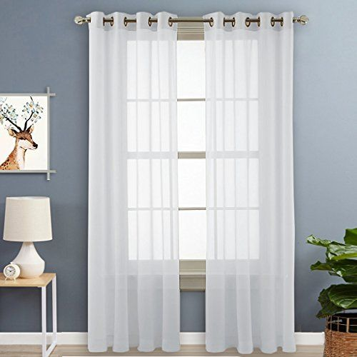 Nicetown Voile Panels Sheer Window Curtains With Grommet Top 2 Pack 54 Wide X