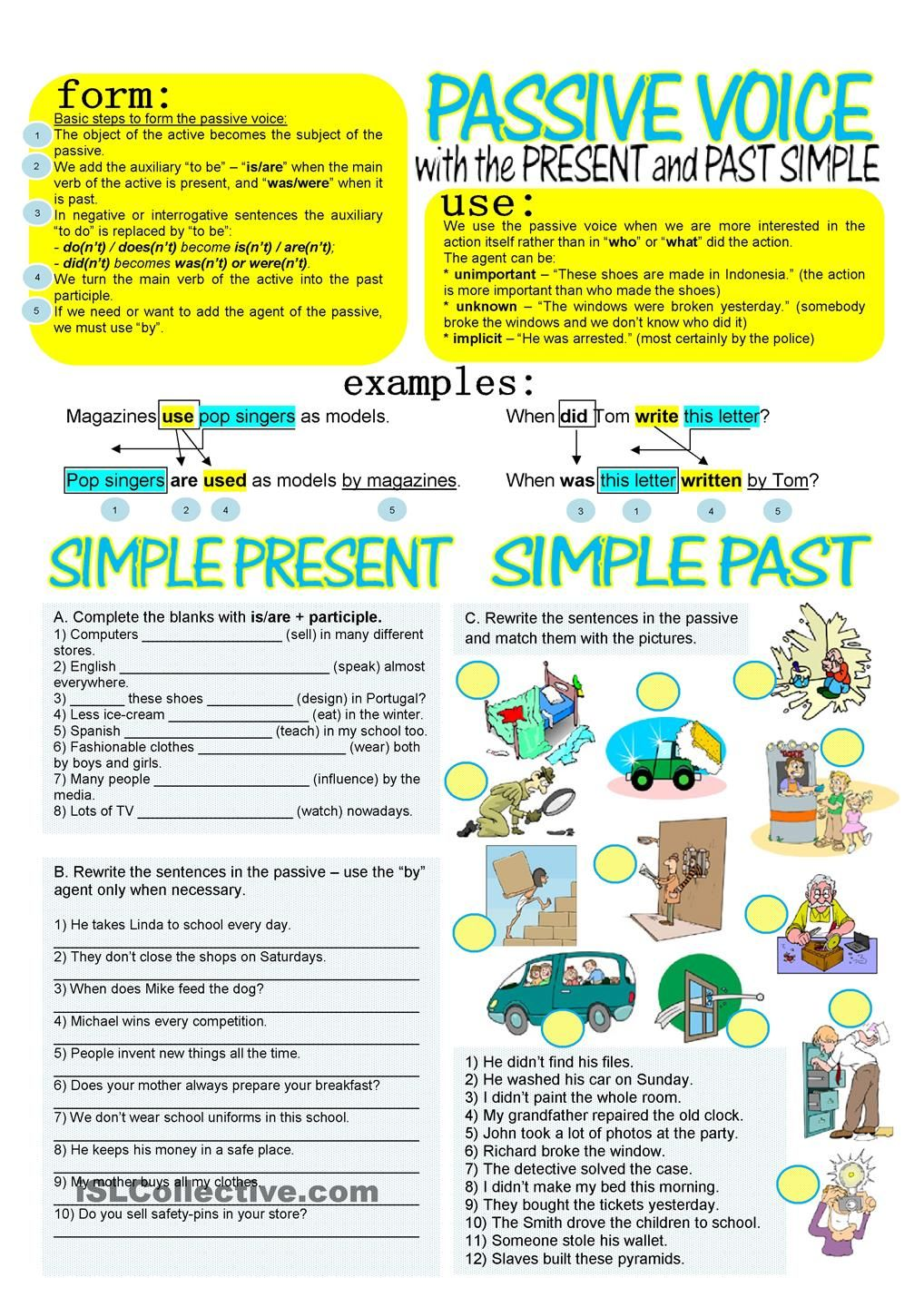 PASSIVE VOICE WITH SIMPLE PRESENT AND PAST | senior classes ...