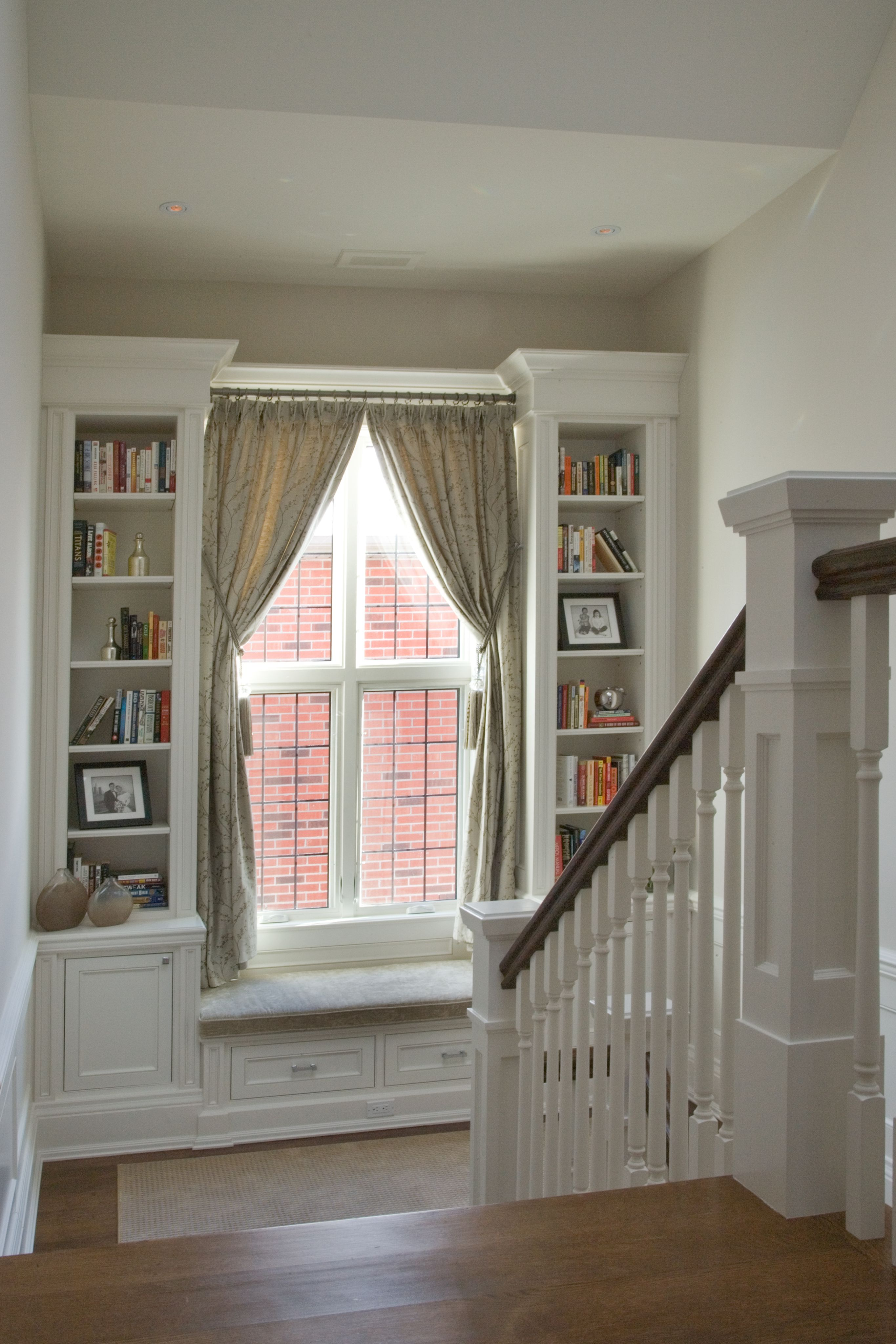 Charming reading nook! Staircase landing with a built-in window ...