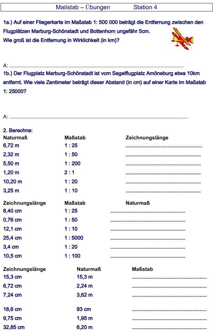 Übungsblatt zu Maßstab   Schule   Pinterest   Mathe, Grammatik und ...