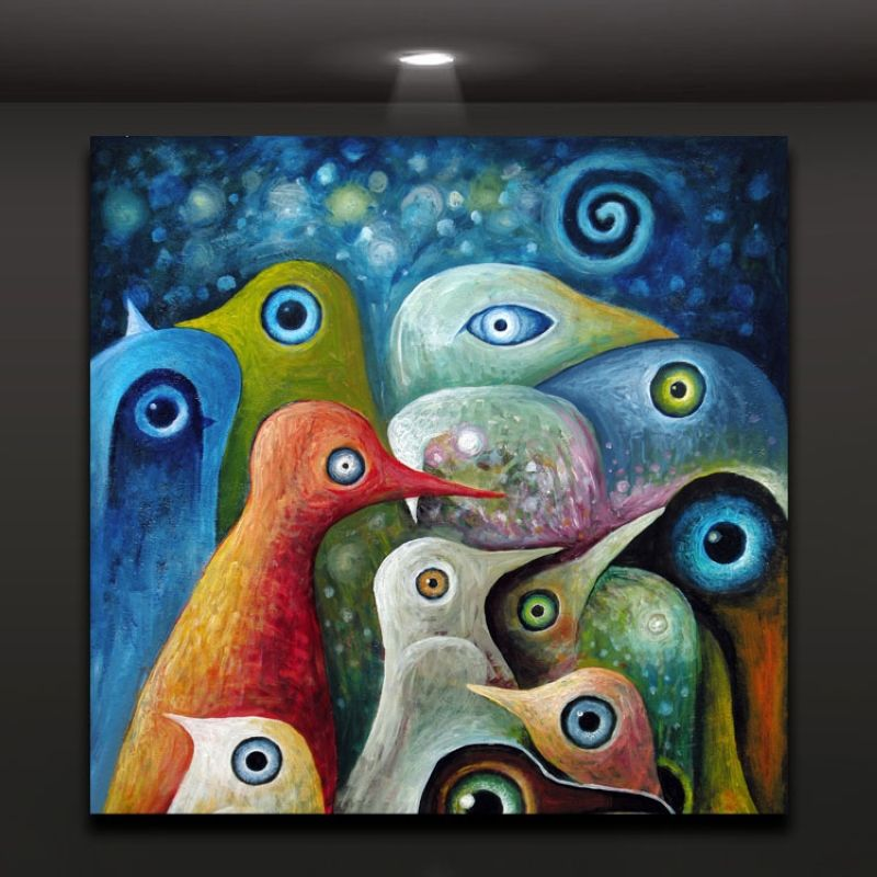 multi color abstract birds painting canvas print picture modern