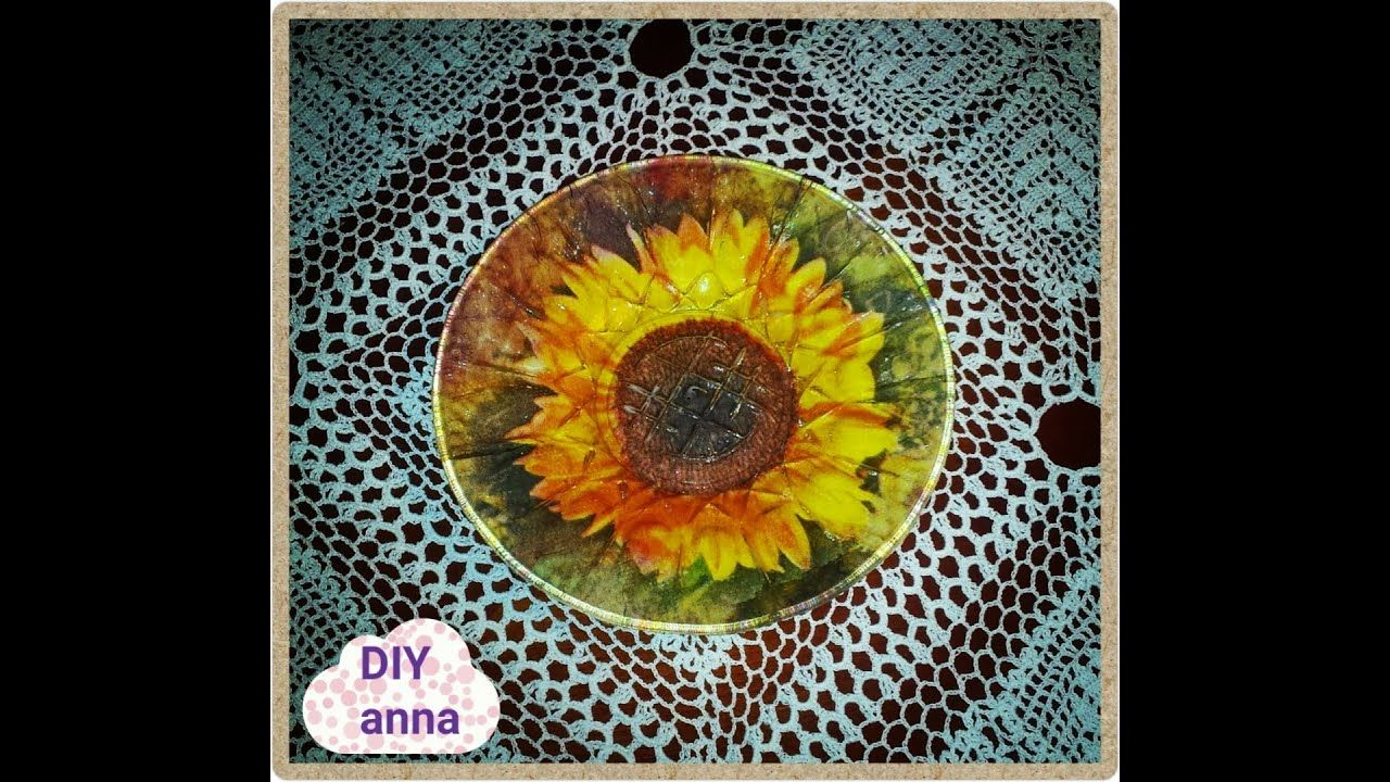 Reverse Decoupage On A Glass Plate Sunflower Diy Ideas Decorations Tutorial Uradi Sam Youtube Sunflower Painting Bottle Painting Decoupage