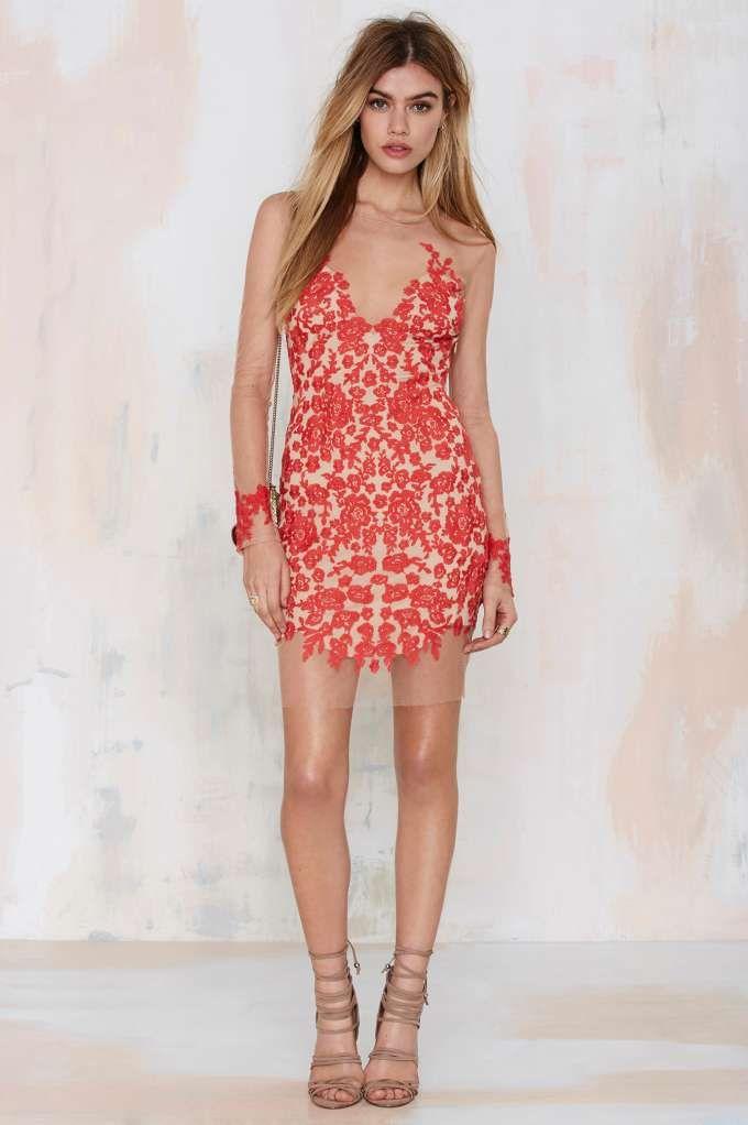 991d816ab82b3 For Love and Lemons Luau Lace Mini Dress - Red - Going Out | Body-Con | For  Love and Lemons | Lace Dresses
