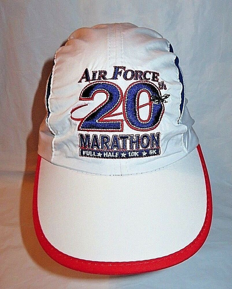 US Air Force 20th Marathon Light Weight Runners Cap White