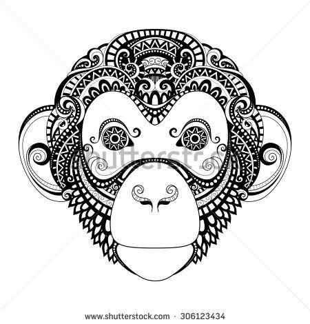 Monkey Tattoo Of The Year Ornate Monkey Head Patterned Tribal