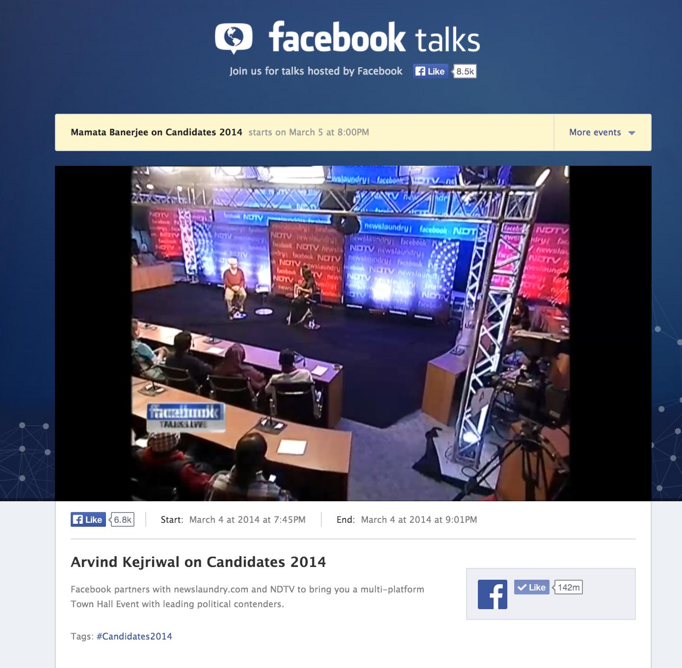 Arvind Kejriwal on Candidates 2014 on Facebook Talks Live - set shot