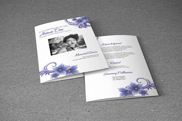 Printable Funeral Program Template Memorial by TemplateStock