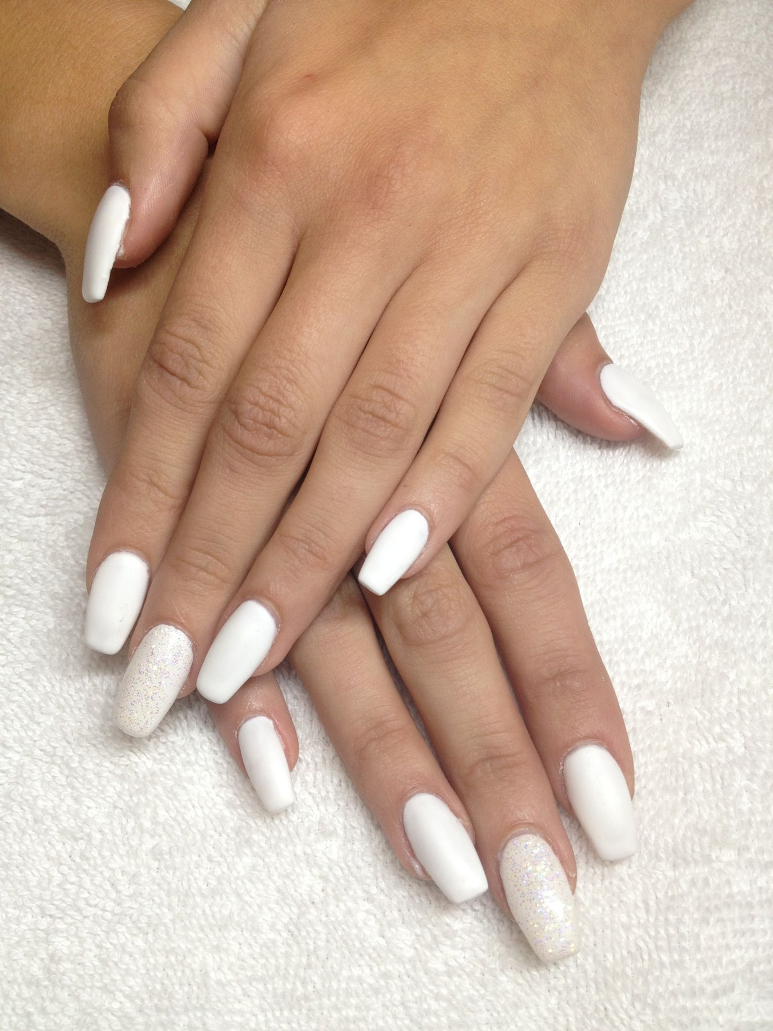 Matte White Coffin Shape Gel Nails Gel Nails French Gel Nails Diy Gel Nail Extensions