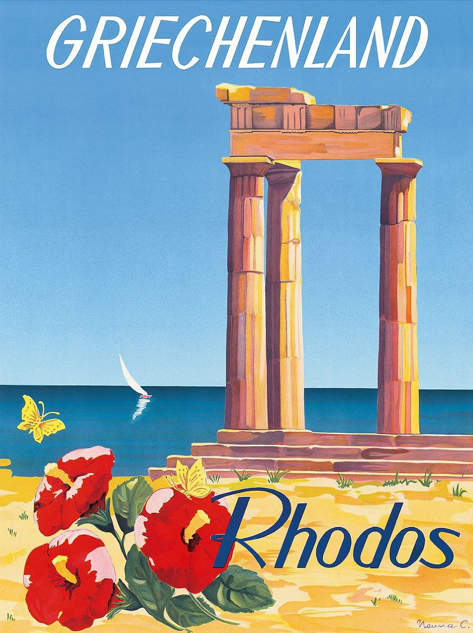 Poster By C. Neuria / Island Of Rhodes