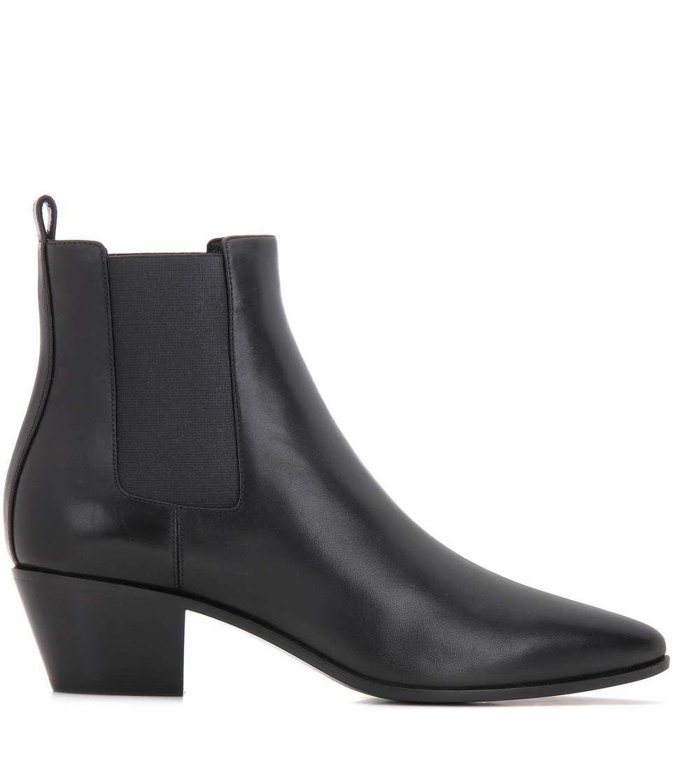 Latest Saint Laurent Black Rock Leather Chelsea Boots for Women Online