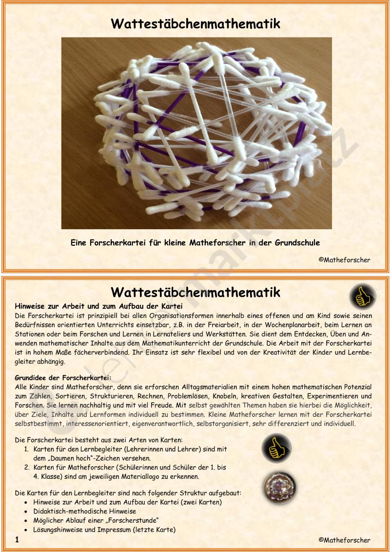 Wattestäbchenmathematik in der Grundschule – Mathematik   Mathematik ...