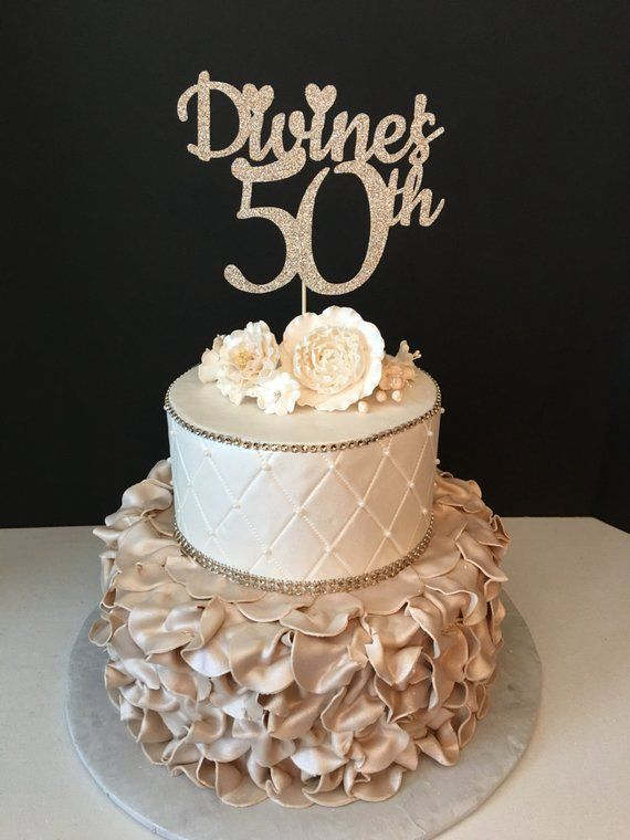 Any Number And Name In Color 50th Birthday Cake Topper 50 Fabulous