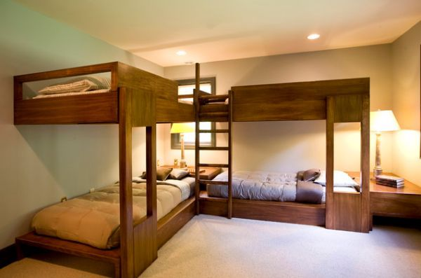 Bunk Beds For Four Wonderful Space Saving Additions To The Kids Rooms Corner Bunk Beds Modern Bunk Beds Adult Loft Bed