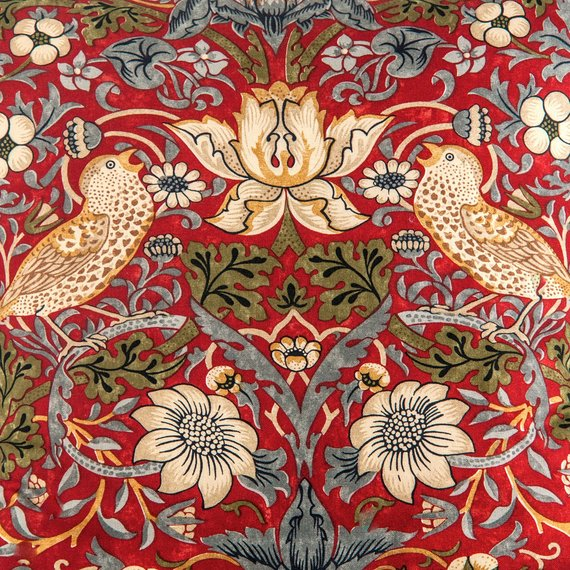 "William Morris designer pillow cover, ""Strawberry Thief"