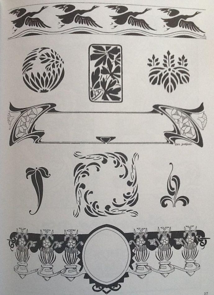 Art Nouveau Motifs And Vignettes Stil Modern Risunki Plakat