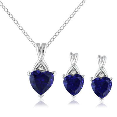 Sterling Silver Created Blue Sapphire and Diamond Earring and Pendant Set (.03 Cttw, G-H Color, I3 Clarity) | SHOP.CA - Amour