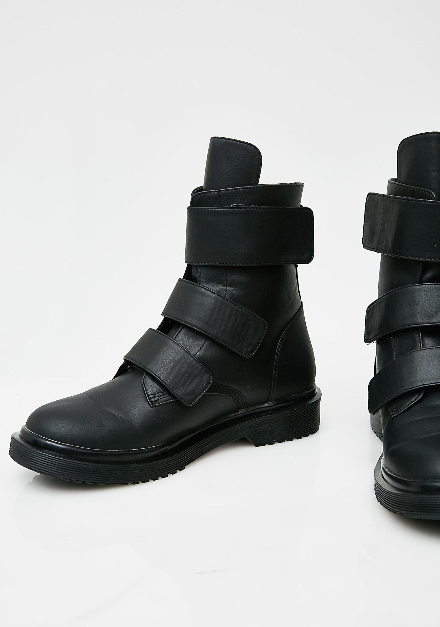 a3b2dcea81 Current Mood Strap It Down Boots cuz you re takin   em for a ride. These  black boots have three velcro straps across the top and rounded toes.